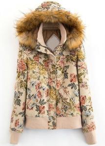 faux fur, floral, vegan, hoodie