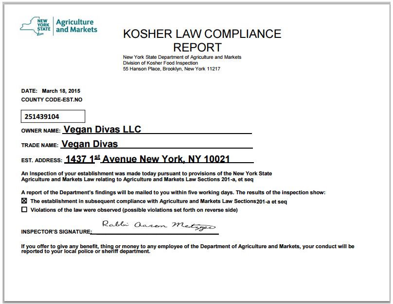 Kosher Certification Vegan Divas